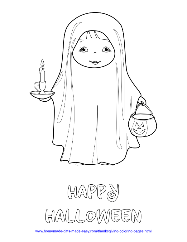 halloween coloring pages - Child in ghost costume