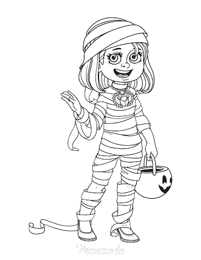 Halloween Coloring Pages Girl Mummy Costume Trick or Treat
