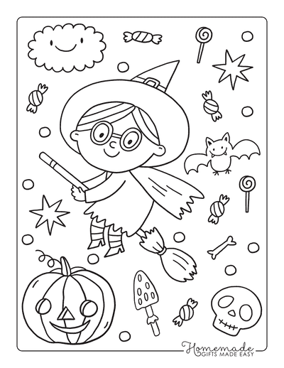 Halloween Coloring Pages Girl Witch Flying Treats
