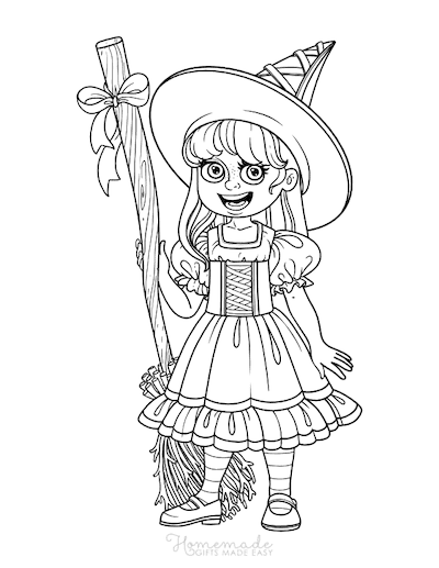 Halloween Coloring Pages Girl Witches Costume Broomstick