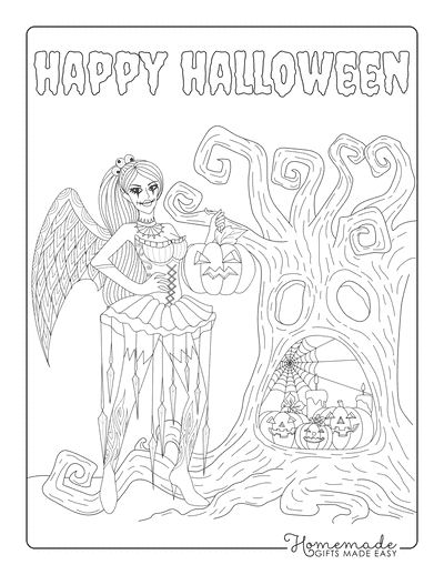 Halloween Coloring Pages Goth Fairy Spooky Tree Pumpkins