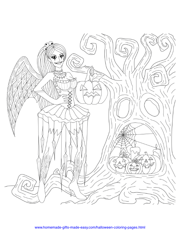 halloween coloring pages - Fairy with spooky tree
