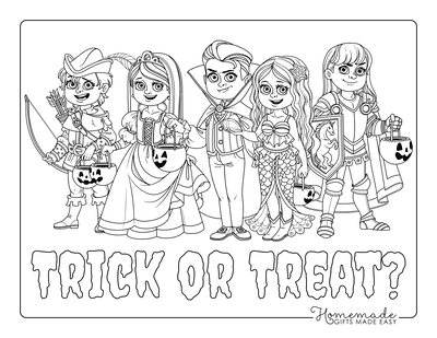 Halloween Coloring Pages Group Children Costumes Trick or Treat