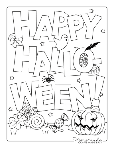 Halloween Coloring Pages Happy Halloween Sign Candy Pumpkin Spiders