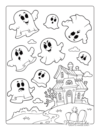 Halloween Coloring Pages Haunted House Ghosts