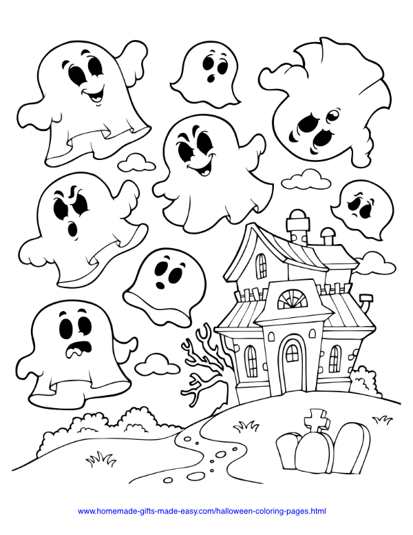 halloween coloring pages - Haunted house with ghosts