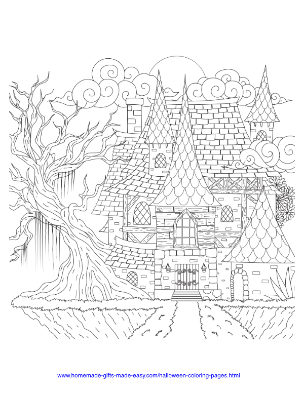 halloween coloring pages - Intricate haunted house and spooky tree