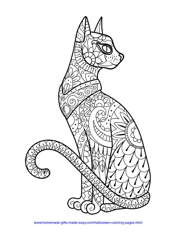 halloween coloring pages - Intricate cat