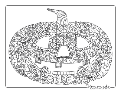 Halloween Coloring Pages Intricate Pumpkin