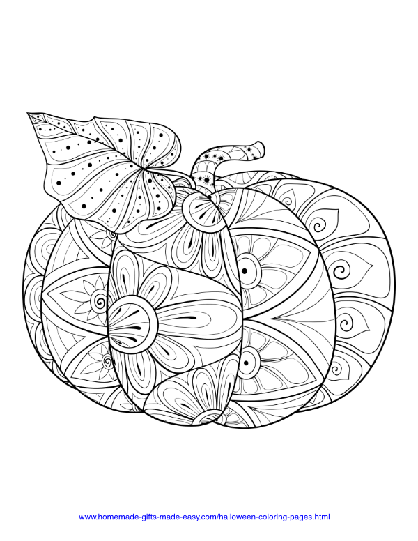 halloween coloring pages - Intricate pumpkin and leaf