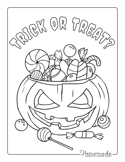 Halloween Coloring Pages Jack O Lantern Candy Trick Treat