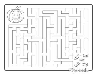 Halloween Coloring Pages Maze Pumpkin Treats