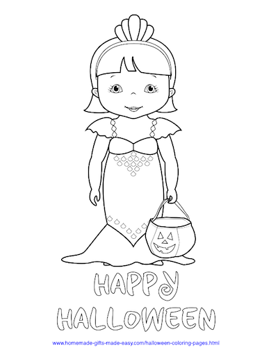 Halloween Coloring Pages Mermaid Trick Treat Costume
