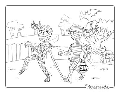 Halloween Coloring Pages Mummy Trick Treat