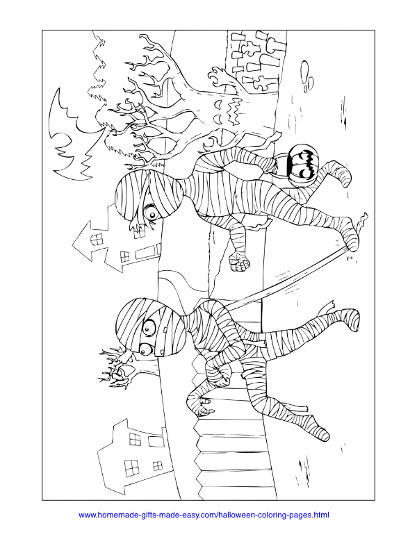 halloween coloring pages - Mummies trick or treat