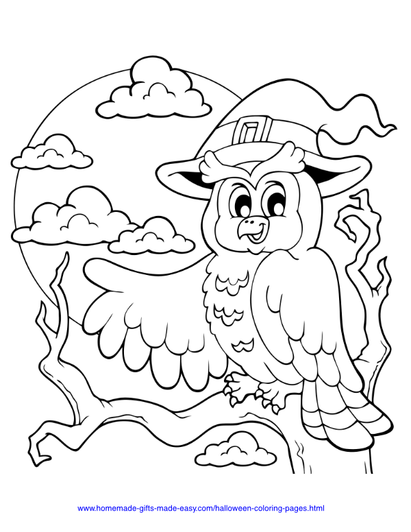 halloween coloring pages - Owl on tree with spooky moon