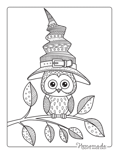 Halloween Coloring Pages Owl Witches Hat for Adults