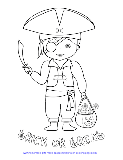 Halloween Coloring Pages Pirate Trick Treat Costume