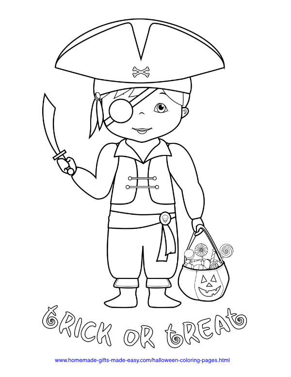halloween coloring pages - Pirate trick or treat costume