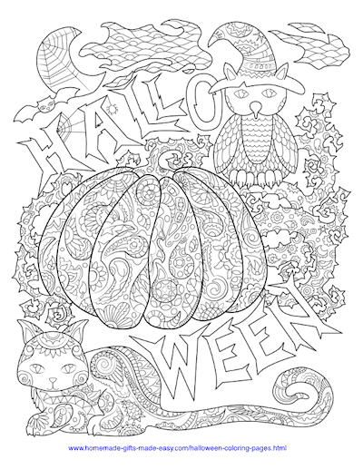 Halloween Coloring Pages Pumpkin Cat Owl Intricate Pattern