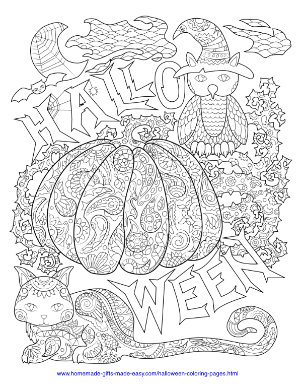 Halloween cats coloring pages - kittens | Free halloween coloring ... | 776x600
