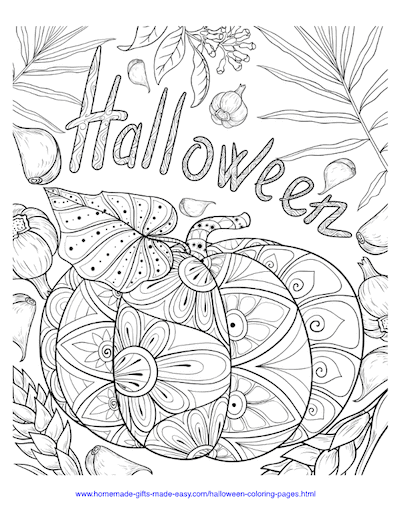 Halloween Coloring Pages Pumpkin Garlic Intricate Pattern