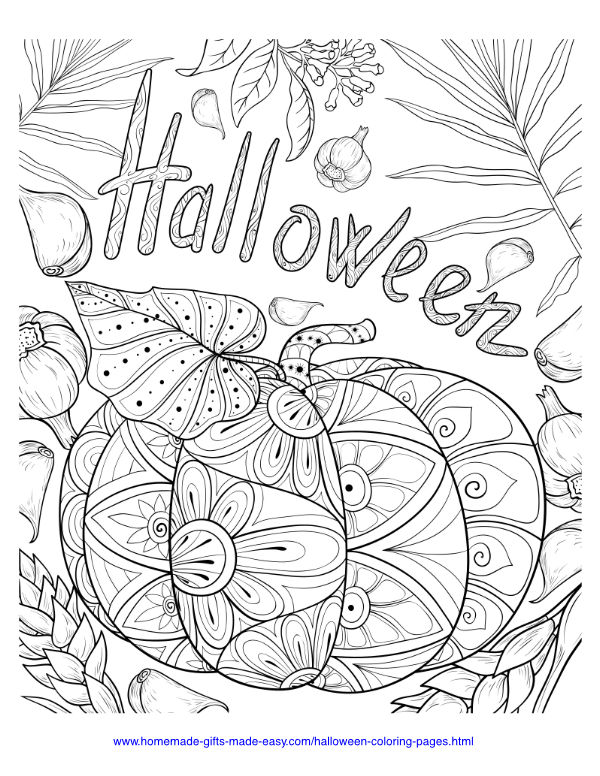 halloween coloring pages - Intricate pumpkin and garlic