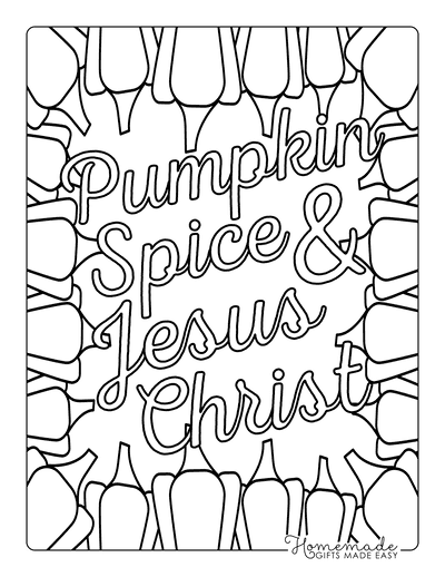 Halloween Coloring Pages Pumpkin Spice Jesus Christ
