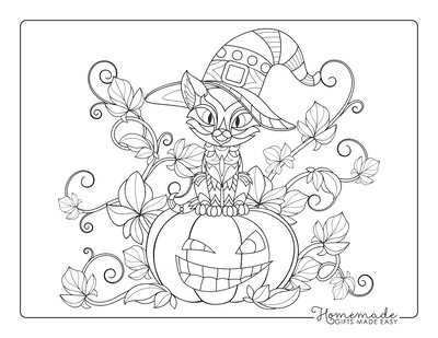 Halloween Coloring Pages Pumpkin Vine Cat Hat