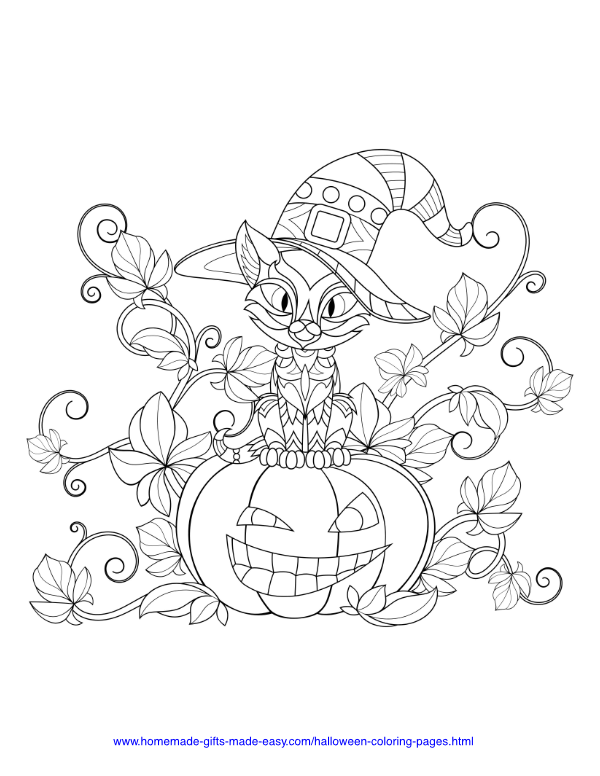 halloween coloring pages - Pumpkin with vines and a cat sitting on top