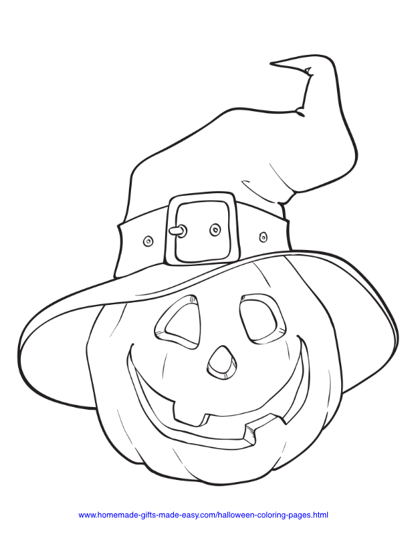 halloween coloring pages - Pumpkin with witch's hat