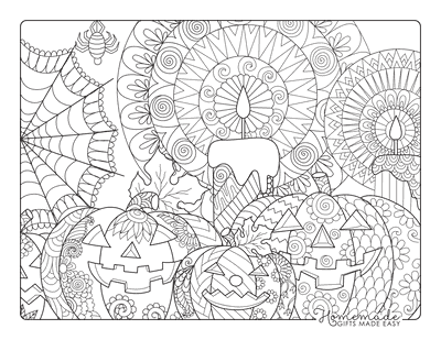 Halloween Coloring Pages Pumpkins Candles Intricate Pattern