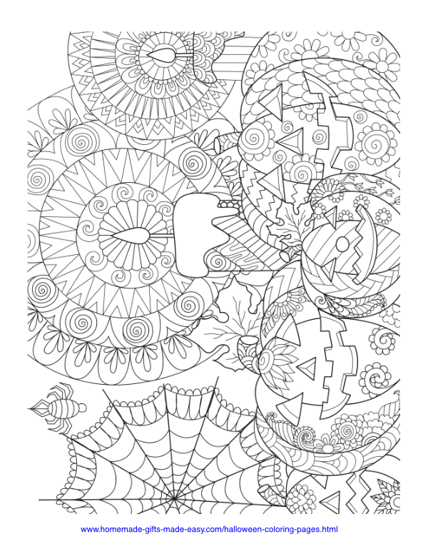 halloween coloring pages - Intricate pumpkins with candles