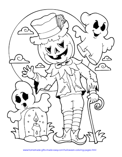 Halloween Coloring Pages Scarecrow Pumpkin Graveyard Moon
