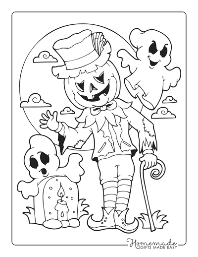 Halloween Coloring Pages Scarecrow Pumpkin Graveyard Moon