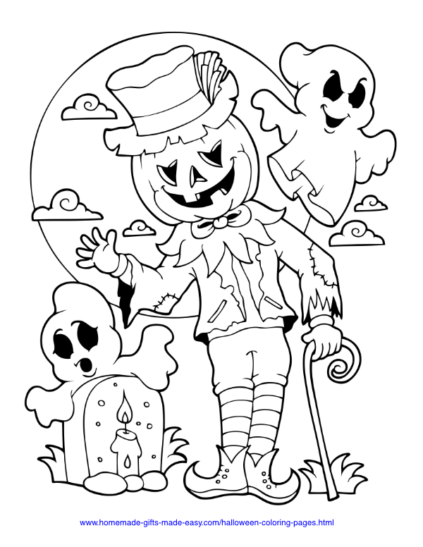 halloween coloring pages - Pumpkin scarecrow with ghosts and moon