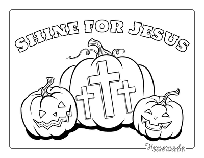 Halloween Coloring Pages Shine for Jesus Pumpkins Cross
