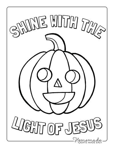 Halloween Coloring Pages Shine With Light of Jesus Happy Pumpkin