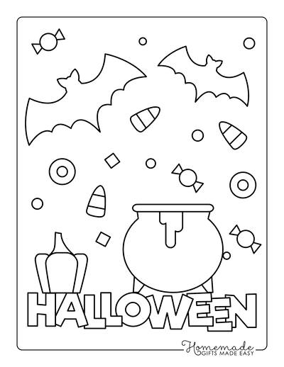 Halloween Coloring Pages Sign Bat Cauldron Candy