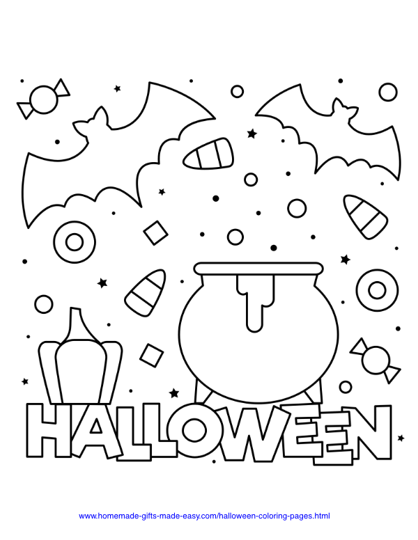 halloween coloring pages - Cauldron with bats and candy