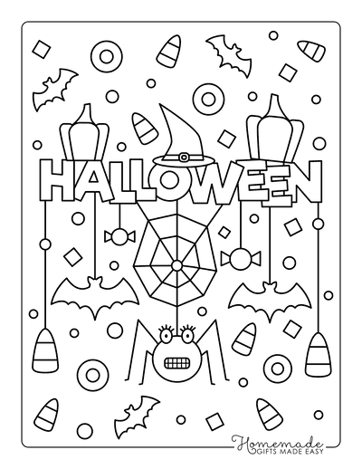Halloween Coloring Pages Sign Bat Spider Hat Corn