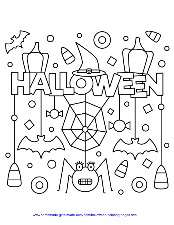 halloween coloring pages - Spiders, bats and candy