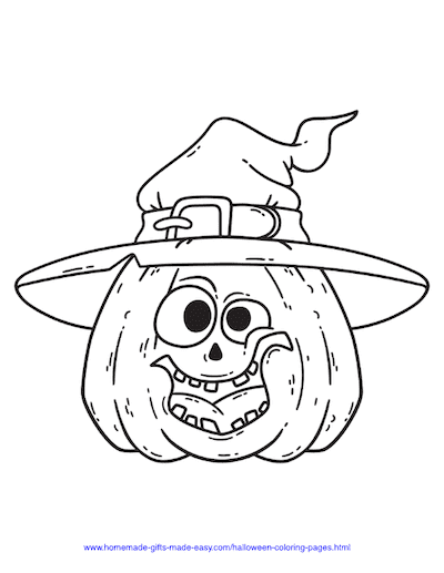 Halloween Coloring Pages Silly Pumpkin Hat