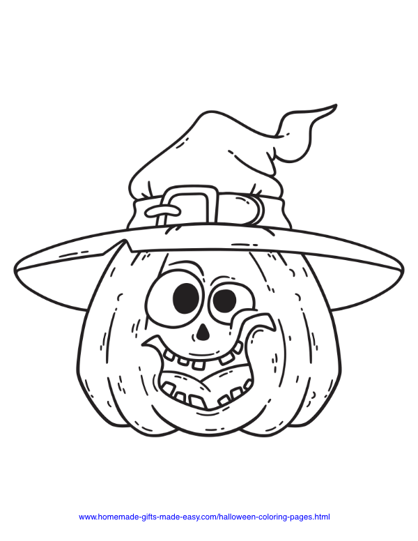 halloween coloring pages - Silly pumpkin with hat
