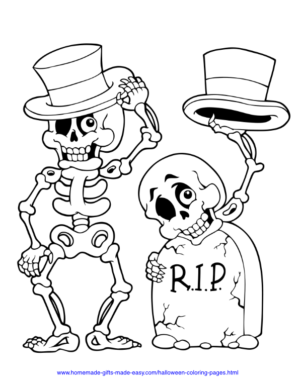 halloween coloring pages - Skeletons in hats next to headstone