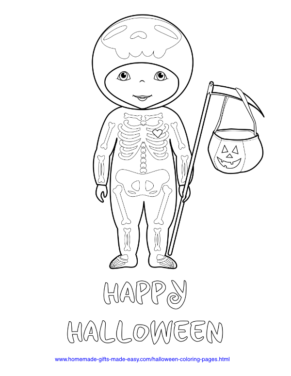 halloween coloring pages - Skeleton Costume Trick or Treat