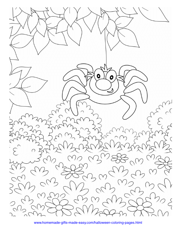 halloween coloring pages - Spider dangling from tree