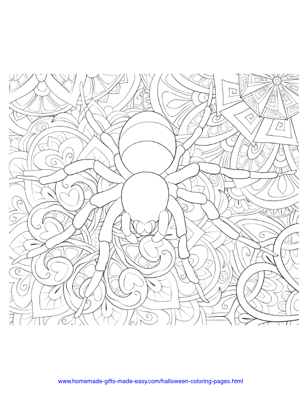 halloween coloring pages - Intricate spider on stylized leaves and flowers