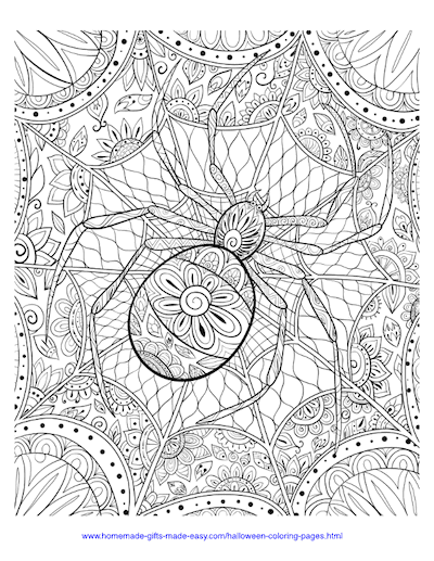 Halloween Coloring Pages Spider Web Intricate Pattern