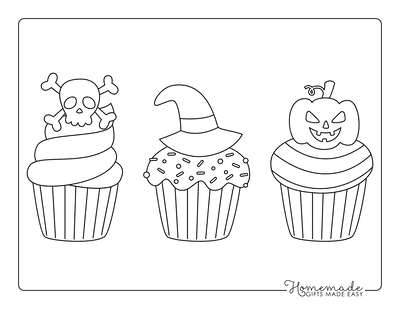 Halloween Coloring Pages Spooky Cupcakes Kids Set 1